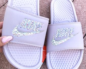 484dde81f Nike Bedazzled Slides Sandals Swarovski Rhinestone Crystal Bling Blush Rose  Pink Silver Iridescent AB Swarovski Crystals Sparkle Nike Slides