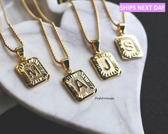c10673073 18K Gold Plated Initial Medallion Letter Pendant Necklace Square Rectangle  Chain Custom Name Personalized Gift Alphabet Charm Unisex Bday