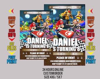 Mario Kart Invitations. Mario Kart Birthday Invitations. Mario Kart Birthday. Mario Kart Party Invitation. Mario Printable. Mario Invitation