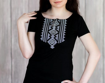 1fc29d8b1f Great Embroidered Blouse in Ukrainian Folk Style. Summer Beach Cotton Top  with Embroidered. Ornament Black Tee