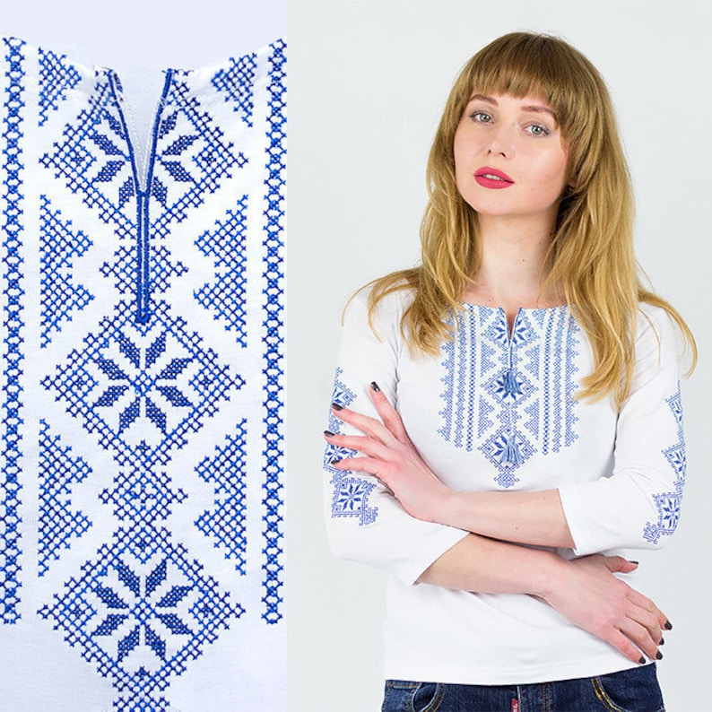 Chic National Top Front Tie Geometric Embroidered Blouse Frida Kahlo Style S-XXL.White Blue Blouse Mexican Clothing Mexican Blouse Tee