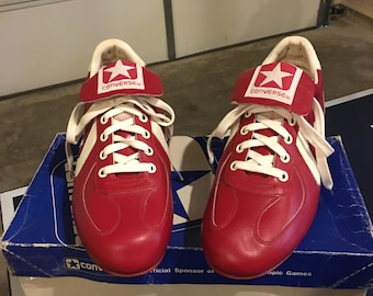 0146a0538d72d8 Vintage 80s Converse Diamond Star Red leather metal Baseball cleats shoes  size 8