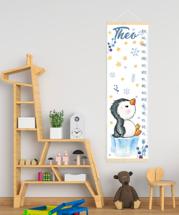 Cute Penguin Growth Chart Personalized Canvas Height Chart Etsy