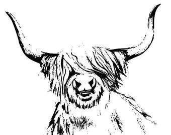 Highland Rinder Druck Vintage Wörterbuch Seite Scandi Wandkunst Bild Kuh Lustig