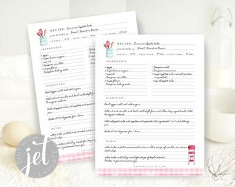 Editable Recipe Template, Printable Recipe Template, Recipe Binder Printable, Recipe page 8.5 x 11