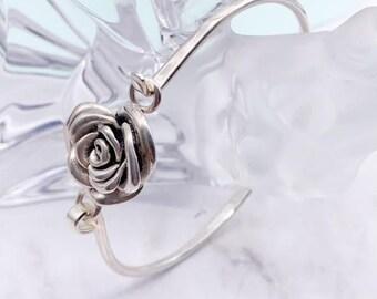 Personalised Sterling Silver Heavy Rope Hook and Loop Bangle Bracelet
