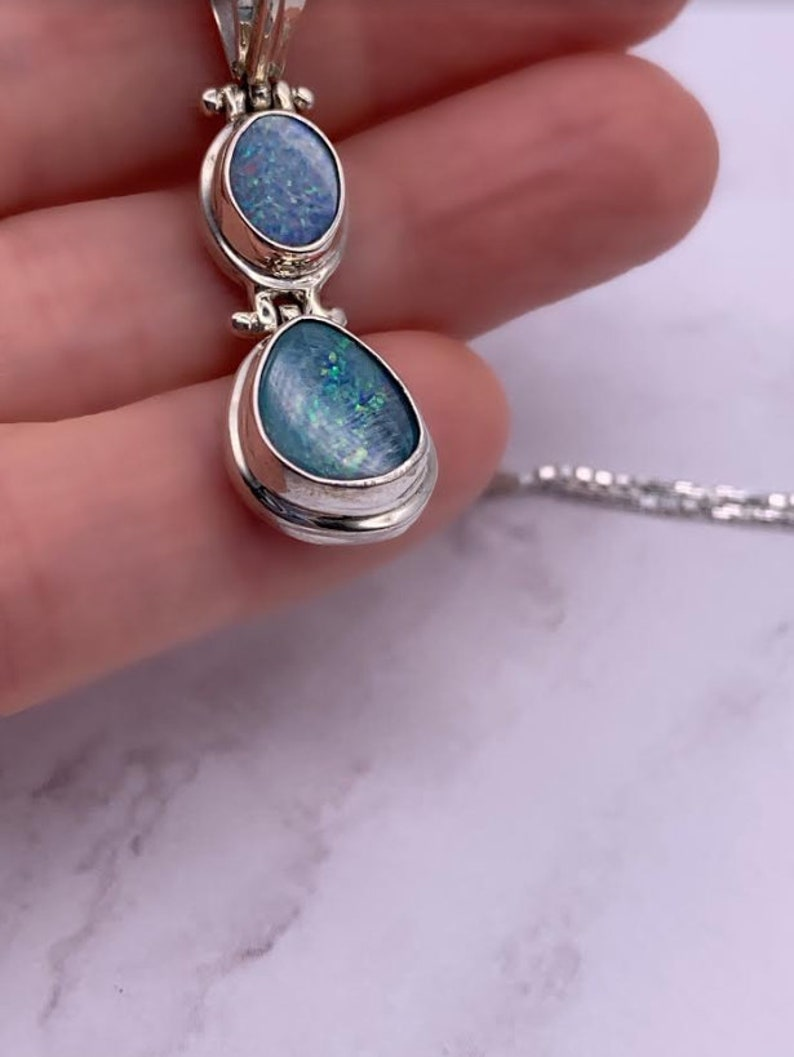 Sterling Silver Double Opal Sparkling Blue Iridescent Necklace October Birthstone Sterling Silver Blue Opal Iridescent PendantNecklace