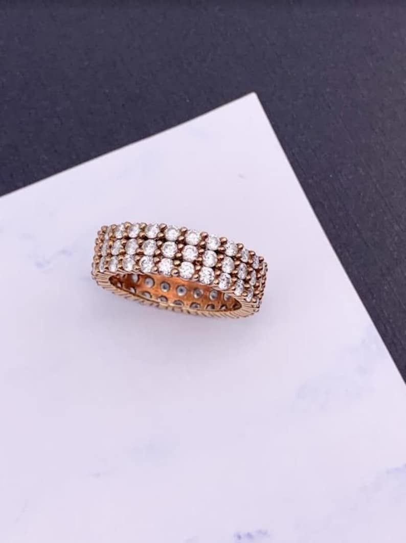 Gold Vermeil Three Rows of Pave Gemstones Sterling Silver Cubic Zirconia Ring Sparkling Faux Diamond Bridal Ring Elegant Wedding Band