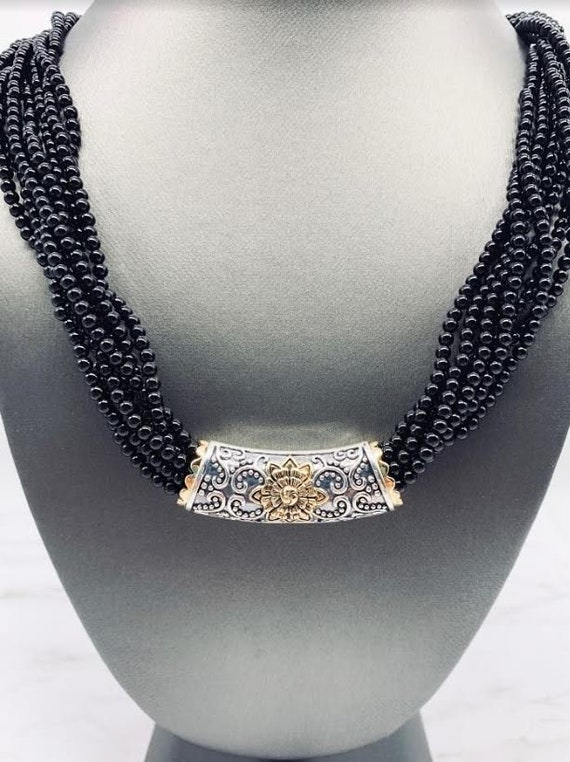 Napier Multiple Beads Silver Twist Rope Necklace