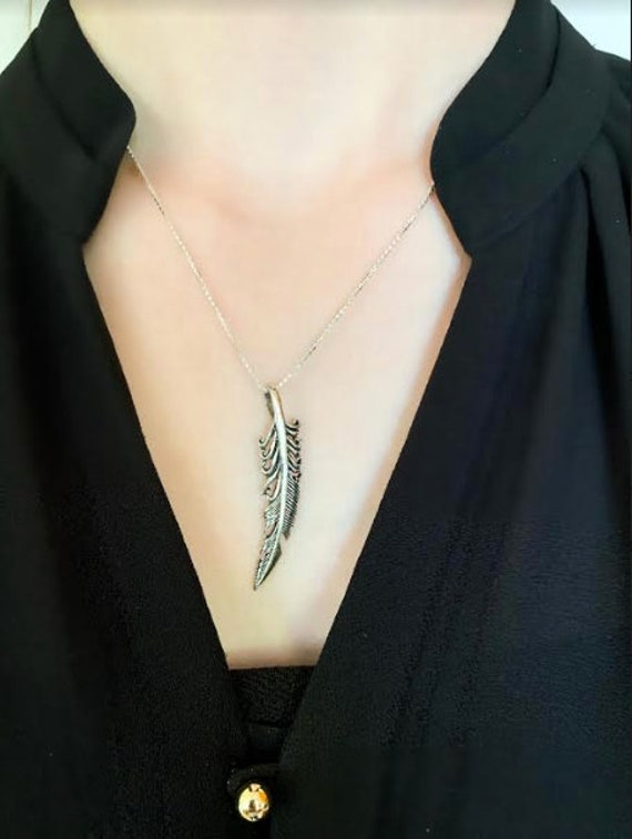 Sterling Silver Feather Necklace, Long Detailed Fe