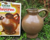 Vintage Rustic Wine Juice or Applewine Pitcher, Salt Glaze Stoneware Rustic Style, Company GERZ Made in W. Germany