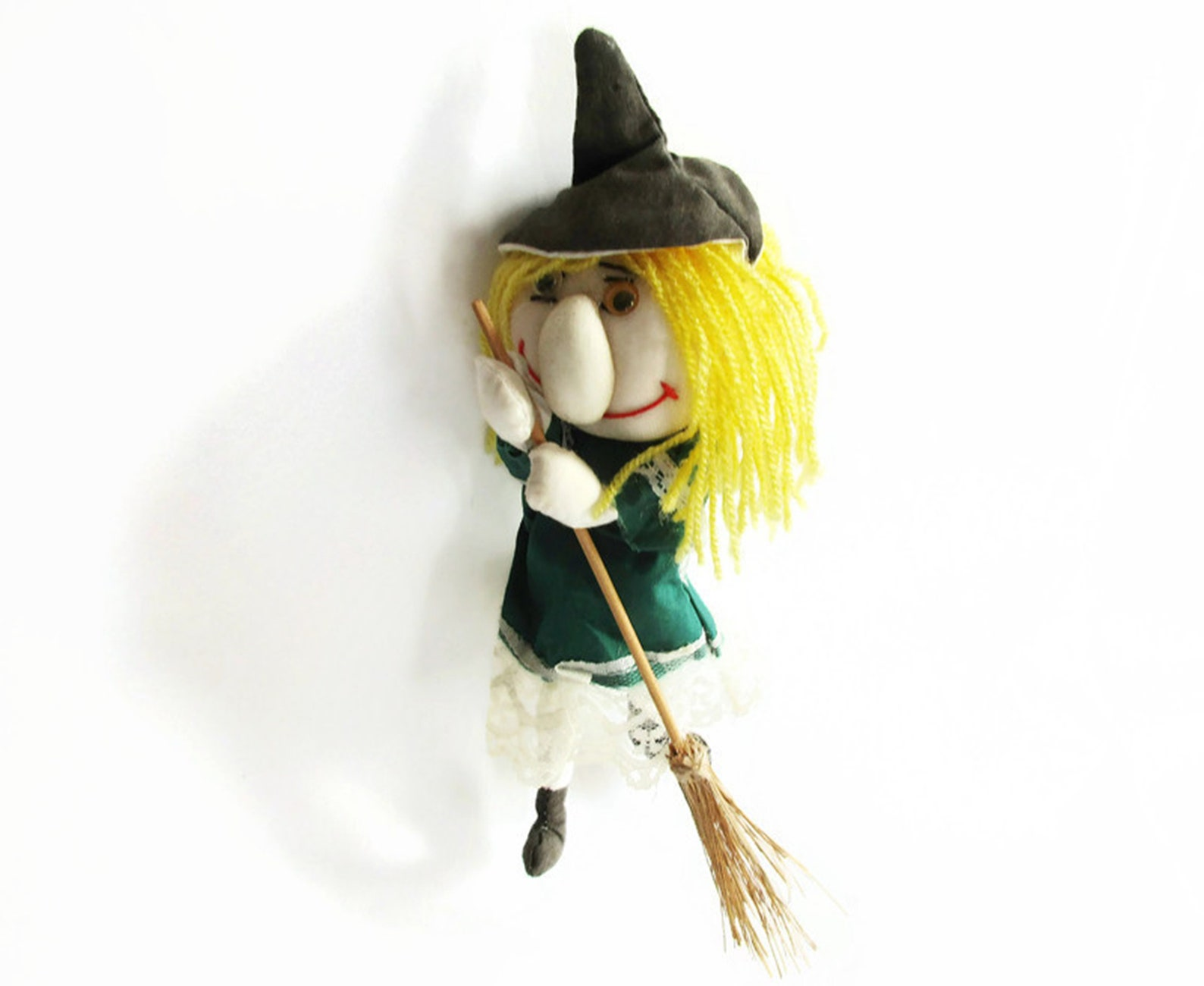 Lovely Handmade Vintage Kitchen Witch Doll, Hanging Witch on Broom, Home Decor, Made in Germany 70s