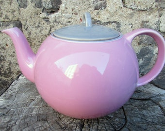 Vintage Pink and Gray Teapot from Waechterbach, Ceramic material, Vintage from the 70s/ 80s