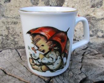 Lovely German Vintage White Porcelain Mug with Hummel Umbrella Girl, Marked Reuter Germany, Kids Childrens Mug Cup, White Porcelain