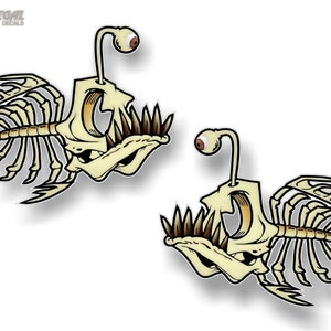 Fish Bone Decals Fish Skeleton Stickers Tackle Box Truck AFP-0009