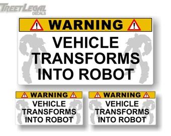 3 Warning Vehicle Transforms Into Robot Decals Autobots Inspired Transformer Autobot Decepticon Vinyl Stickers