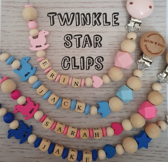 Personalised Wooden Dummy Clip Full Silicone Engraved Purple Star Baby Gift