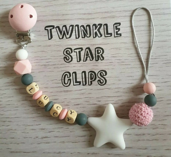 Personalised Baby Pink Peter Rabbit Minnie Mouse Dummy Clip Perfect Baby Gift