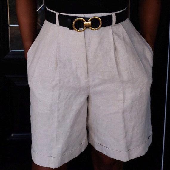 Biege Linen Shorts