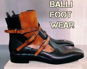 aaf73fbf450 Men's Handmade Two Tone Tan & Brown Leather Jodhpurs Boot Men's Triple  Buckle Strap Leather Boots