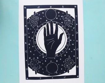 Seconds zodiac print- original handmade lino print