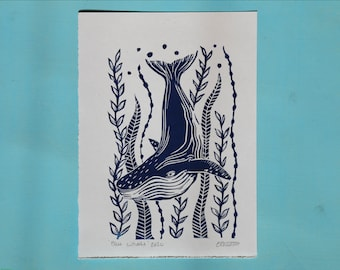 Seconds whale print- Original handmade lino print on recycled paper