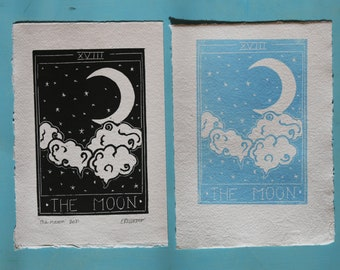Seconds moon tarot card print- Original handmade lino print on recycled paper