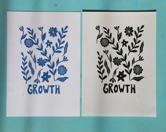 Seconds Growth print- Original Lino print on recycled paper