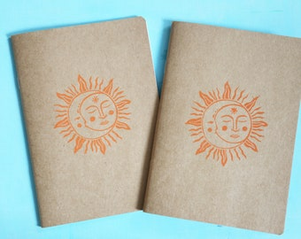 Sun and moon print seconds notebook