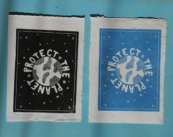 Seconds protect the planet original handmade lino print