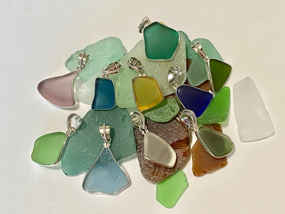 Sea glass Jewelry Sea Glass Sterling Silver Rope Design and Sea glass Bezel Necklace Beach Glass Jewelry