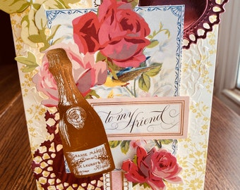 """Anna Griffin Friend Card, Handmade, """"To My Friend"""", Sweetheart, Girlfriend, Pink Hearts, Gold Champagne, White Card, Green Leaves"""