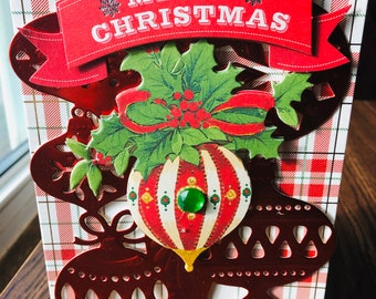 Christmas Card, Anna Griffin. Xmas Card. Vintage, 3D, Ornament Card, 3 Dimensional , Red Card, Merry Christmas, Green Crystal, Red Bow.