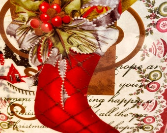 Christmas Card, Anna Griffin. Vintage, Handmade, Merry Christmas,  Red Stocking, Presents, Green Holly, Red Berries, Ribbon, Ornaments. Gold