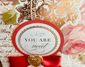 """Anna Griffin Love Card, Handmade, Vintage, """"You Are Sweet"""", Girlfriend Card, Sweetheart, Partner, Red Bow, Dresdan die cut heart."""