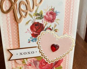 Anna Griffin, Love Card, Handmade Card, Love Die Cut, Vintage, Flowers, Red Gem, Heart,Girlfriend Card, Wife Card
