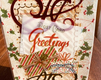 Christmas Card, Anna Griffin, Vintage, Handmade, Acetate, Red and Green Flourishes, Holly, Presents, Post Card Greetings.