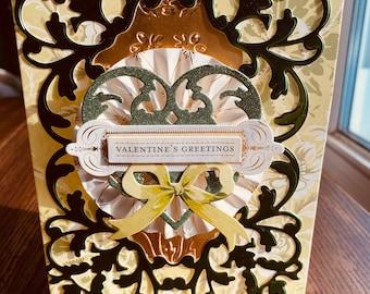 "Valentine Card, Anna Griffin, Handmade, Love, Boyfriend Card, Friend Card, Vintage , Co-Worker Card, Heart Card. ""Valentines Greetings"""