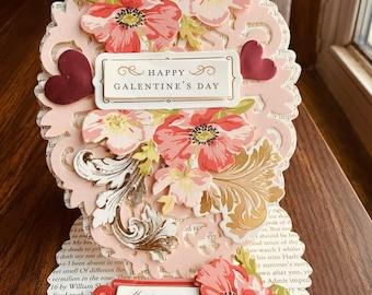 Valentines Card, Anna Griffin, Galentines, My Dear Friend Card, Handmade, Vintage, Flowers, Hearts, Gold Flourishes, Pink, Red, White, Dies