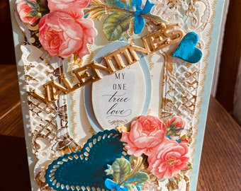 """Valentines Card Anna Griffin Card, Handmade, Vintage, 3D Card, Blue, Gold and Pink Card, """"My One True Love"""", Blue Hearts, Pink Roses, White"""