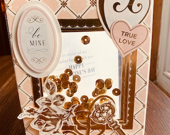 """Valentine Card, Anna Griffin, Shaker Card, Handmade, Love Card, Vintage, Rose Card, Gold Card, """"Be Mine"""", """"Love"""", Happy Valentines Day Heart"""