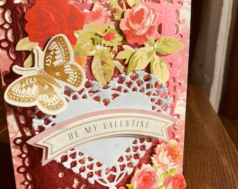 """Valentines Card Anna Griffin, Handmade, Vintage, 3D, """"Be My Valentine"""",  Large White Heart, Roses, Flowers, Pink Card and Die Cut, Butterfly"""