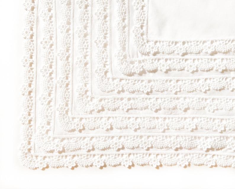 Pure Cotton Floral Lace-Trimmed Handkerchief Reusable /& Eco-Friendly Hanky with Monogram