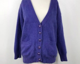 8aeda445b Vintage 80 s Cardigan Angora Rabbit Hair Purple M