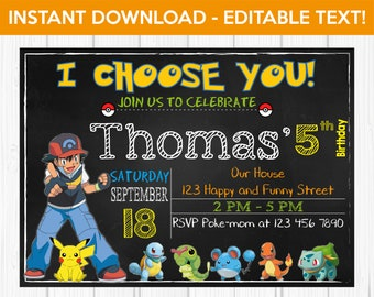 Editable Pokemon Invitation Birthday Go Party Printable Chalkboard INSTANT DOWNLOAD