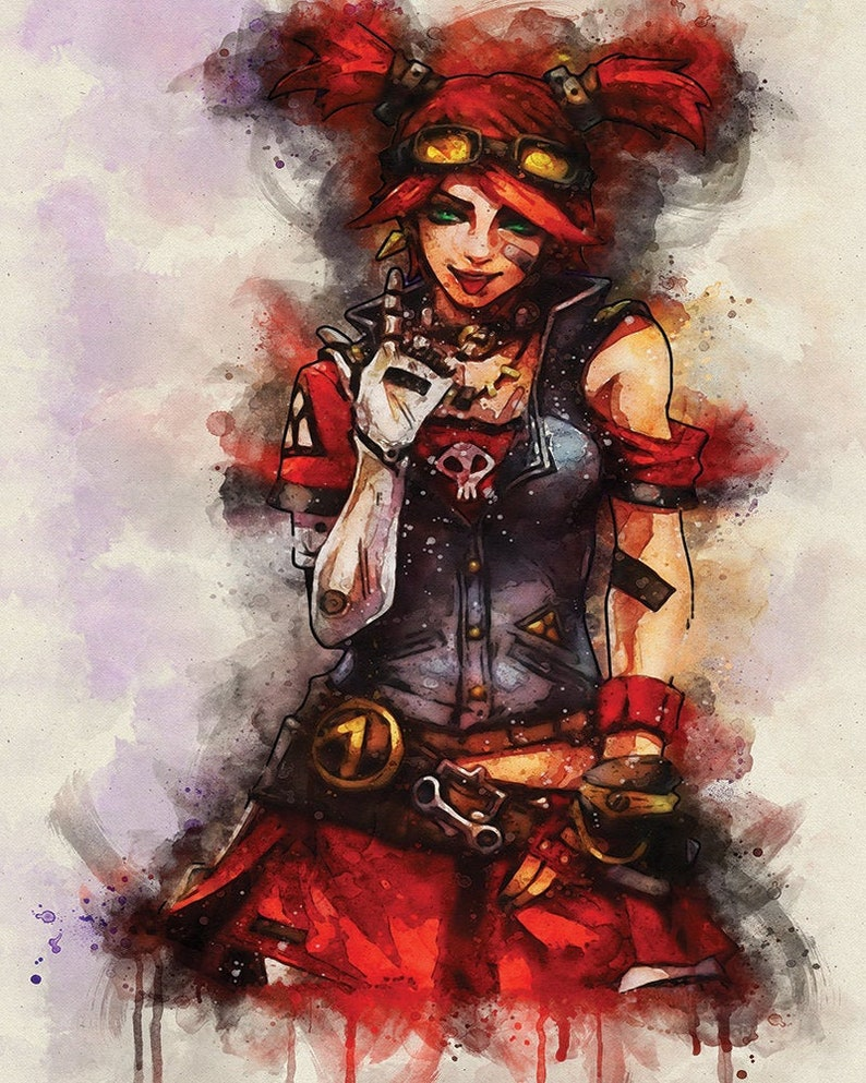 Gaige Borderlands 3 VideoGame video Game Mechromancer Gaming Painting  Watercolor Fine Fan Art Print Fan Art Gamer Gift Poster Decor No249