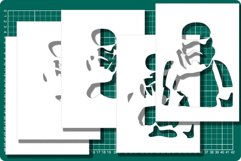Light box Stormtrooper SVG Silhouette paper shadow papercraft laser craft cut papercut cutting PDF JPG Pattern template download