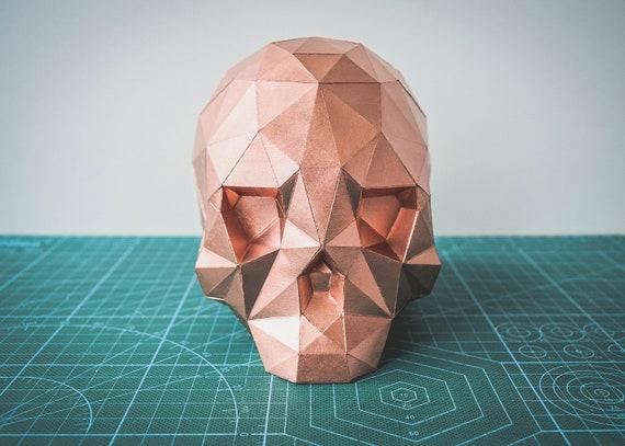 3D Papercraft Skull, DIY Gift, Low Poly Skull, PDF Template Skull ... | 407x570