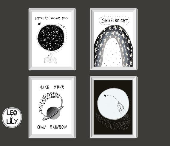 Space Theme Nursery Set Universe Nursery Print Space Themed Etsy