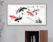 100 Hand-Painted Koi fish art, Koi sumi e, horizontal freehand style Asian painting, studio wall art, Feng shui painting, sumi koi artwork